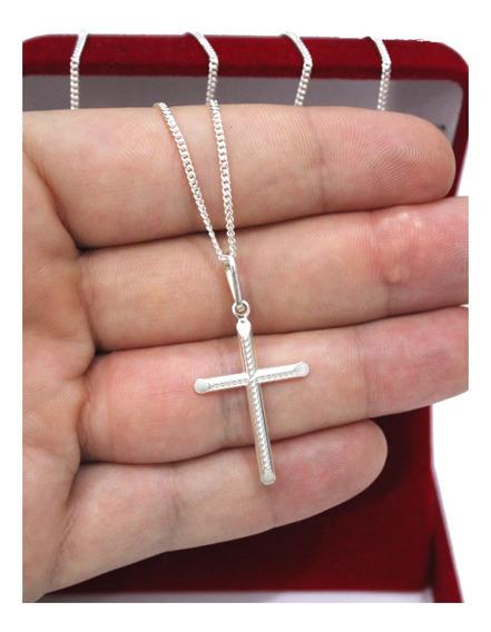 Corrente De Prata Masculina 925 60cm Fina Pingente Crucifixo
