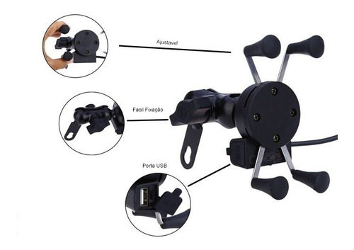 Imagem 1 de 6 de Suporte Celular Ou Gps Moto Universal C/ Carregador Motoboy
