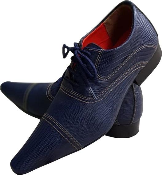 Sapato Masculino Italian- Couro Azul Frisado Oxford Ref:765