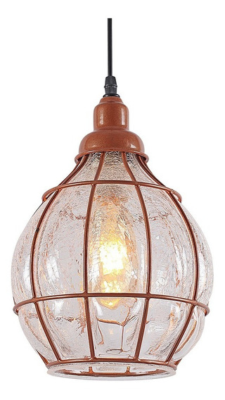 Pendente Luminaria Aramado E Vidro Loft Retro Incobre L40