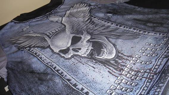 Camiseta Larga Xxl Jeans Impressão 3d Caveira Rocker