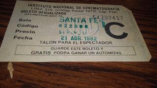 Entrada De Cine Sala Santa Fe 1 21 De Abril 1982