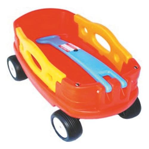 Carro Americano Naranja Con Manija Celeste Rotoys Original