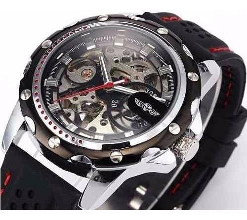 Relógio Pulso Winner Win446 Esq Mecânico Preto-frete Gratis