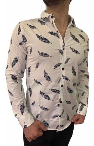 Camisas De Vestir Estampadas Slim Fit Shaffe De Hombre