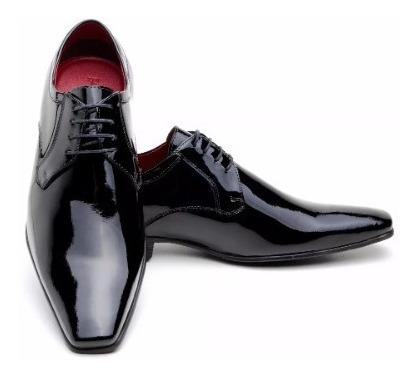 Sapato Social Masculino Verniz Em Couro Legitimo