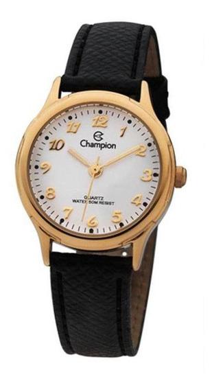 Relógio Feminino Dourado Champion Couro Preta Pequeno + Nf