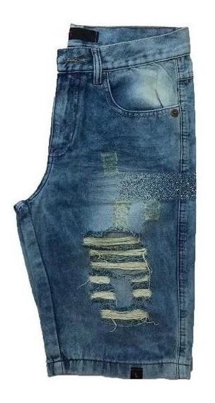 Bermuda Shorts Jeans Azul Claro Rasgada Desfiada Destoyed