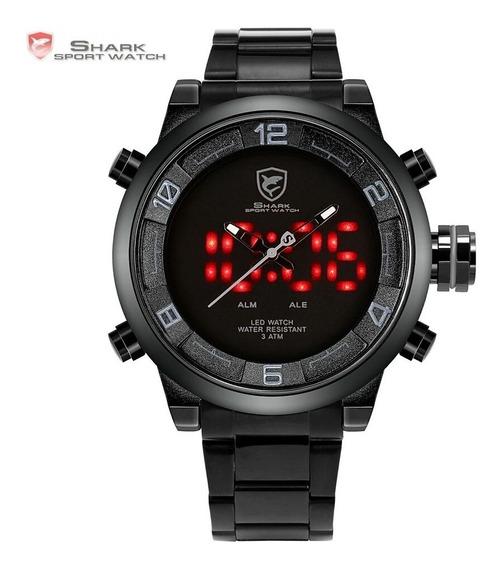 Relógio Esporte Shark Gulper Sh364 Dual Time Led Masculino
