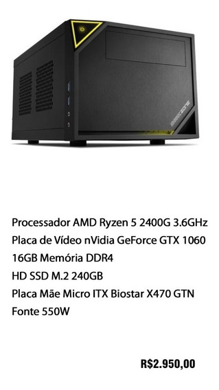 Computador Gamer Pc Amd Ryzen 5 2400g + Nvidia Geforce 1060