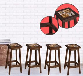 Kit Com 4 Banquetas Bistrô Alta Para Bar Na Cor Cappuccino.