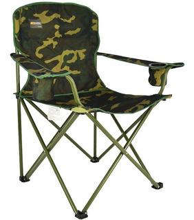 Cadeira Dobrável P/ Pesca Camping Com Porta Copos Camuflada