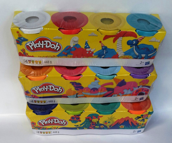 Play-doh Set 4 Plastilinas 13 U$a 4 Colores 448 Gr Original