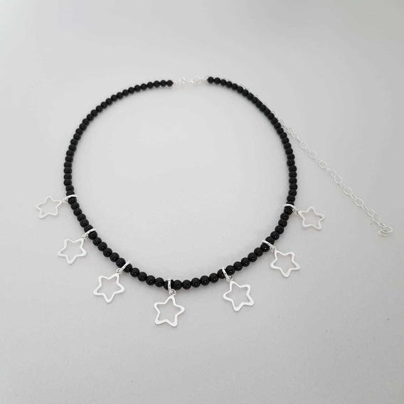 Choker De Prata - Agata Negra Com Estrelas Vazadas