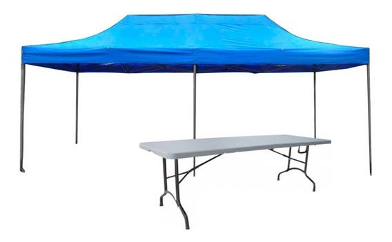 Mesa 180cm + Toldo 3x6mts Azul Plegable, Eventos