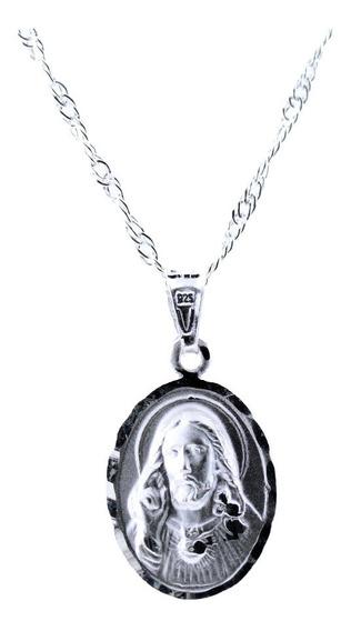 Medalla De La Virgen De Plata .925 +cadena (cristo) 1.7