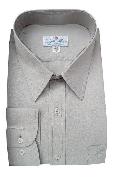 Camisa Gris Perla Manga Larga De Vestir Para Hombre