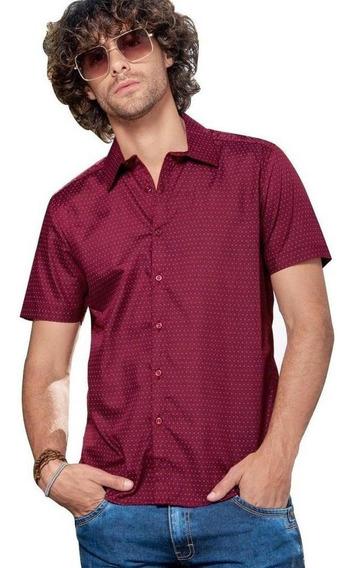 Camisa Hombre Caballero Manga Corta Casual Vino Lunare Liger