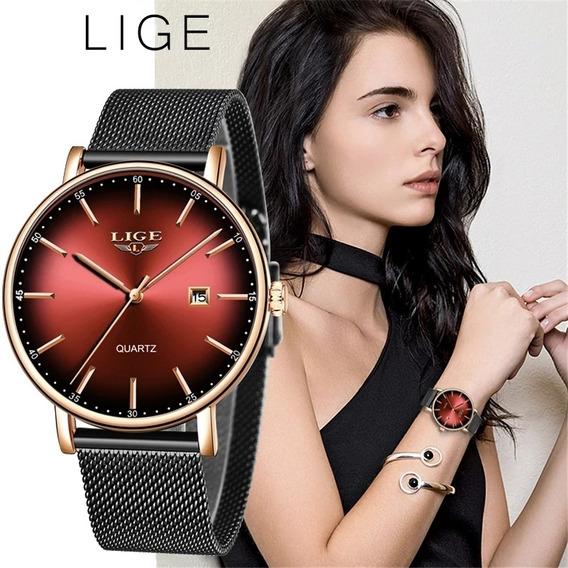 Relógio Lige Feminino Importado Original Na Caixa - Red