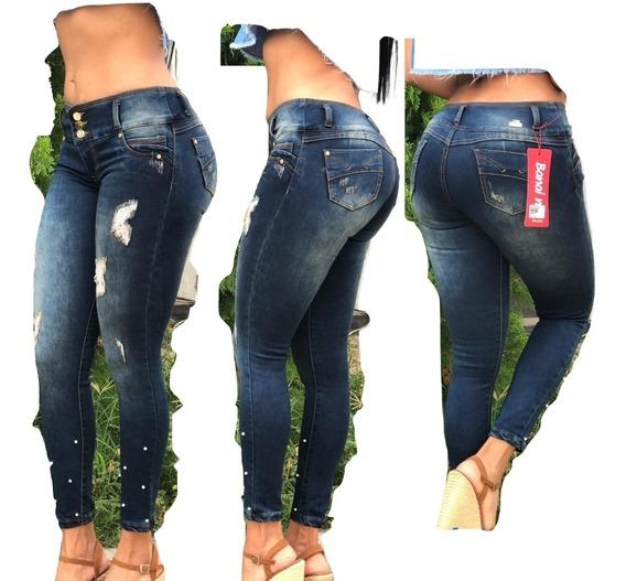 Pantalon Jeans De Dama Studio Moda Colombiana Negros