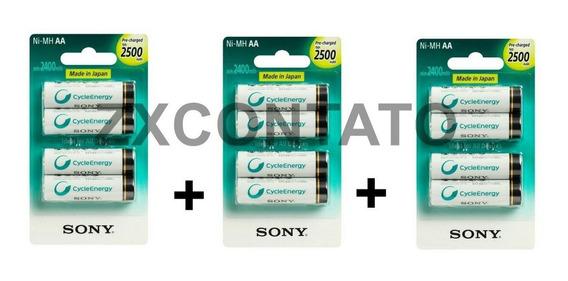 Kit 12 Pilhas Recarregavel Aa Sony 2500mha