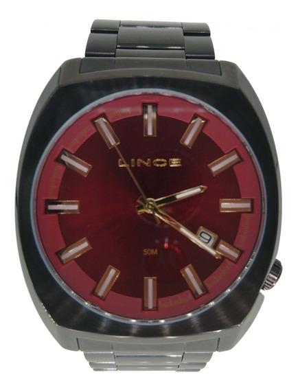 Relógio Lince Masculino Preto Calendário