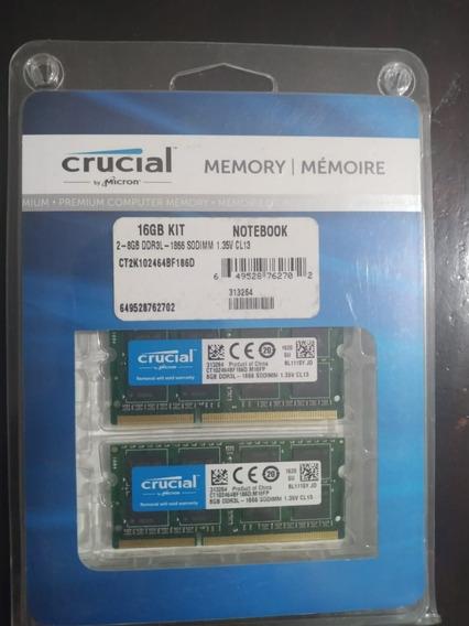Memoria Ram Crucial 2x8gb (16gb Total) Ddr3l - 1866 Sodimm