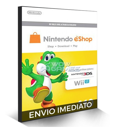 Cartão Nintendo Eshop Usa Switch 3ds Wii U Ecash $10 Dolares
