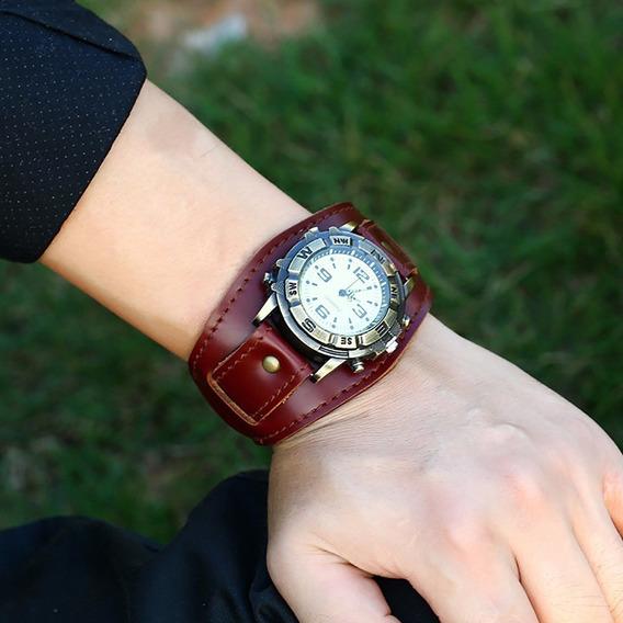 Relógio Masculino Feminino Bracelete Couro Vintage Mod Punk