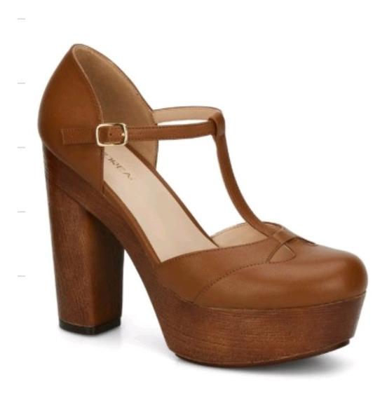 Zapatos Andrea Café Plataforma T-bar 2577302