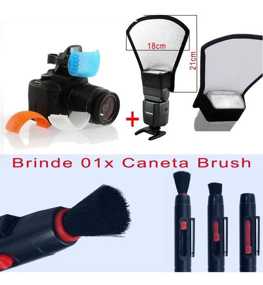 Rebatedor Flash Speedlight + Difusor + Grátis Caneta Brush