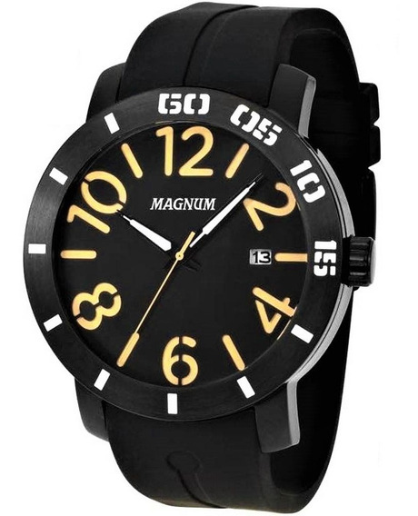 Relógio Magnum Masculino Analógico Emborrachado Preto Ma3485