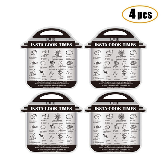 Magnetic Cheat Sheet For Instant Pot 4 Pcs Cooking Time Tabl