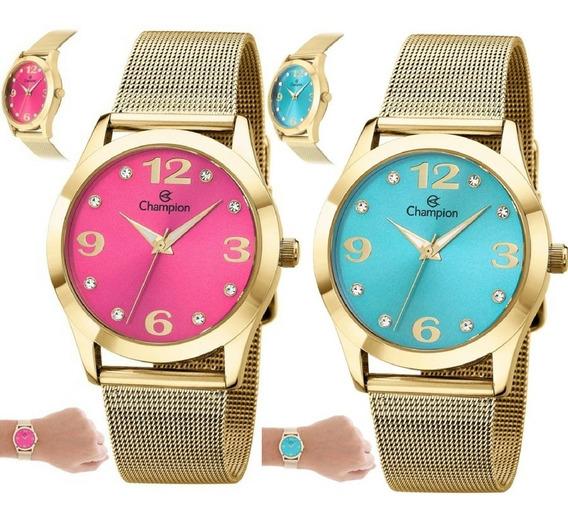 Relógio Champion Feminino Dourado Rosa Azul Original