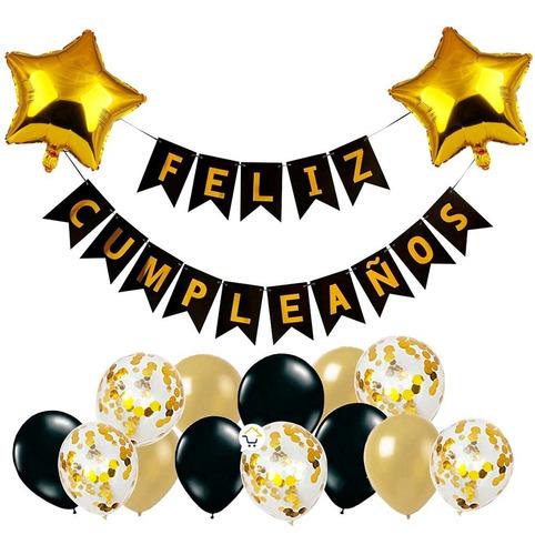 Kit Decoración Feliz Cumpleaños Globos Bombas Guirnaldaoe139