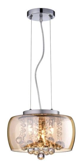 Pendente Plafon Soho Cristal 28cm X 17cm 3 Luzes 9 Âmbar