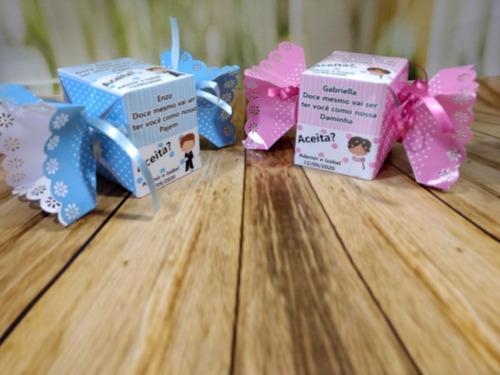 Imagem 1 de 8 de Caixa Personalizada Convite Dama/ Pajem/padrinhos-30unidades