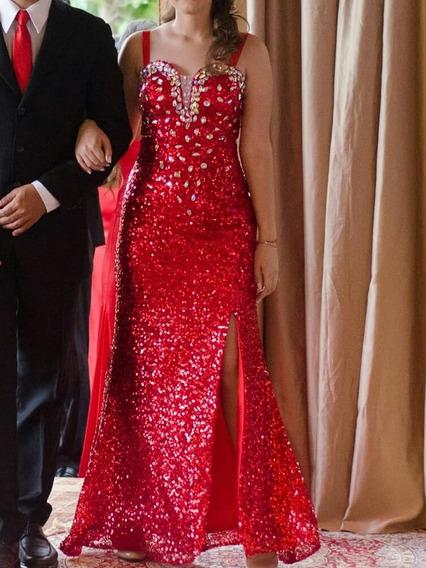 Vestido De Festa Paetê Vermelho