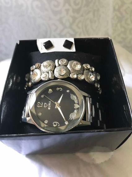 Relógio Feminino Eura +pulseira+brinco+caixa