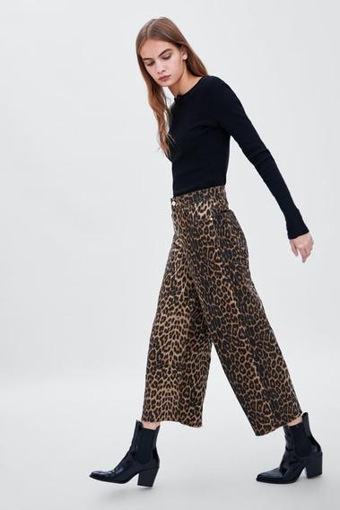 Culotte Jeans Za-ra Animal Print