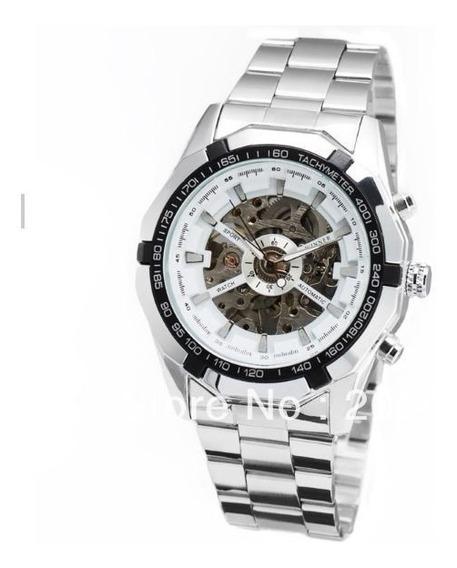 Relógio Masculino Dourado Winner Automático Social Luxo