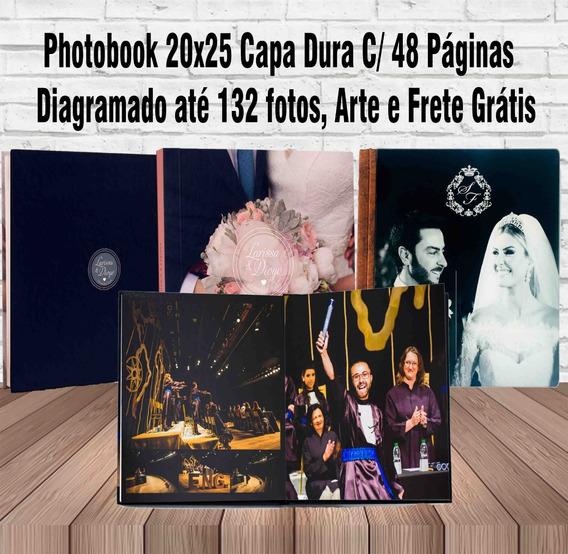 Álbum 20x25 Capa Dura, C/ 48 Pág Diagramado Até 132 Fotos