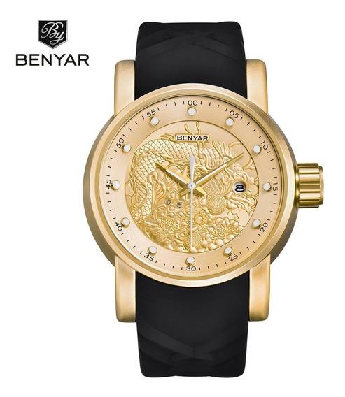 Relógio Masculino Benyar Pulseira De Silicone *muito Bonito*