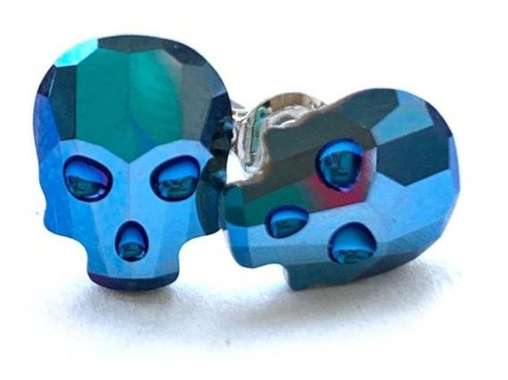Aretes Cráneo Swarovski Metallic Blue Marca Mecanico Jeans