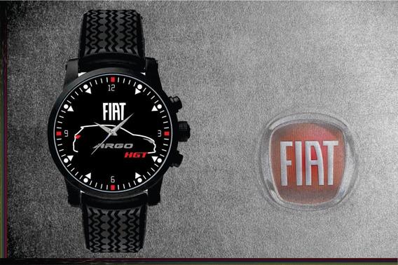 Relógio De Pulso Personalizado Logo Fiat Argo Hgt Silhueta