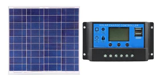 Kit Painel Solar 50w 55w 60w Yingli+controlador De Carga 10a