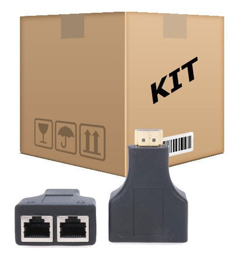 Kit 6 Extensores Hdmi 3d Via Cabo De Rede Utp Rj45 Cat5e/6