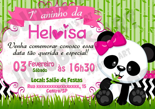 Imagem 1 de 1 de Arte Digital Convite Ursinha Panda Urso Panda Menina