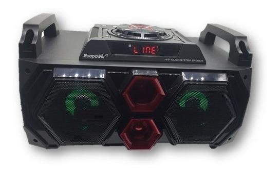 Caixa De Som Ecopower Ep3804 Usb, Bluetooth, Fm, Cartão Memó