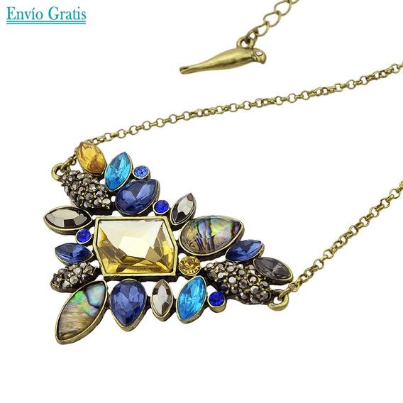 Collar De Cristales Rihestones Coloridos Para Dama Trendy
